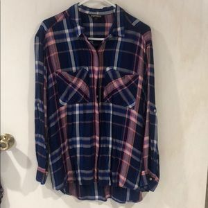 Express Flannel Button Down Long Sleeve Blue Pink